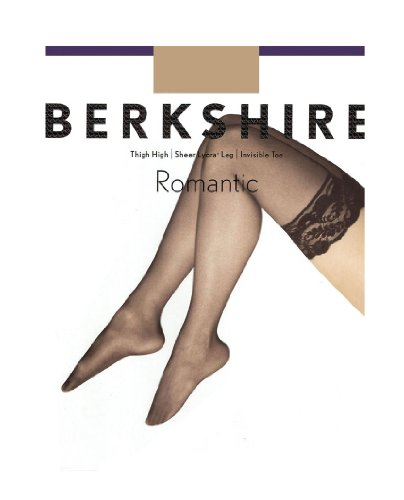 (Berkshire Women's Romantic Lace Top Thigh High Pantyhose 1363, Black, C-D)