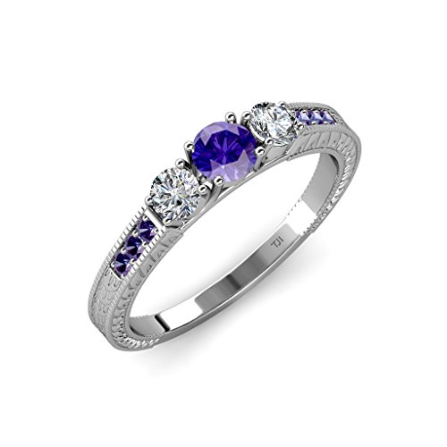 TriJewels Iolite and Diamond 3 Stone Ring with Side Iolite 0.80 ct tw 14K White Gold.size 9.0
