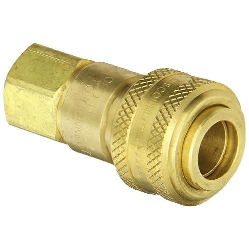 "Dixon Valve 3DF3-B Brass Automatic Industrial Interchange Pneumatic Fitting, Socket, 3/8"" Coupler x 3/8"" - 18 NPTF Female Thread"