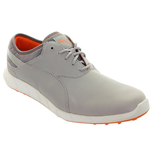PUMA Men's Ignite Golf Drizzle and Vibrant Orange Leather Safety Shoes - 11 US