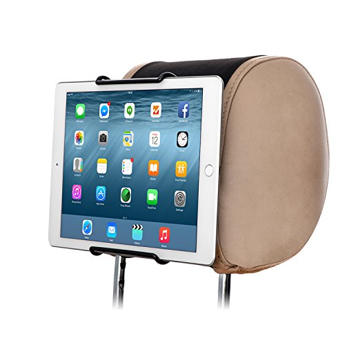 TFY Universal Car Headrest Mount Holder | Works With or Without Case | No Protruding Parts | Fits ALL 6 Inch to 11 Inch Tablet PCs - Apple iPad, iPad 4 (iPad 2 & 3), iPad Air, iPad Mini 2/3/4 - iPad Pro 9.7