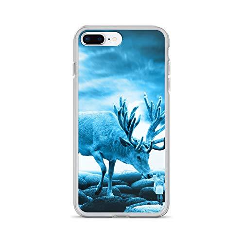 iPhone 7 Plus/8 Plus Case Anti-Scratch Creature Animal Transparent Cases Cover Big Deer Animals Fauna Crystal Clear