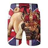 Crown Pug Union Jack Mens Beach Shorts Swim Trunks Quick Drying Board Shorts with Pockets