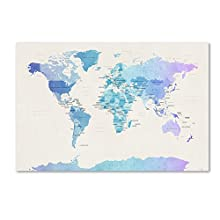 Trademark Fine Art Watercolour Political Map of The World by Michael Tompsett, 30x47-Inch