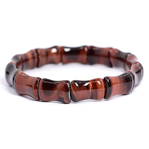 Natural Red Tiger's Eye Gemstone Bamboo Joint Beads Elastic Stretch Bracelet 7
