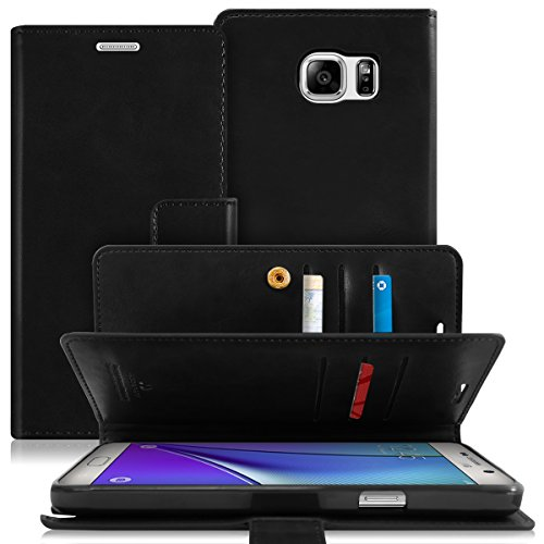 Goospery Mansoor Wallet for Samsung Galaxy Note 5 Case (2015) Double Sided Card Holder Flip Cover (Black) NT5-MAN-BLK