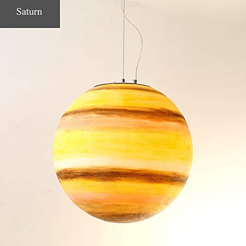 (QLIGHA Modern Pendant Lights Saturn Pattern Universe Planet Series for Restaurant Hotel Cafe Acrylic Chandelier Suspension Illumination)