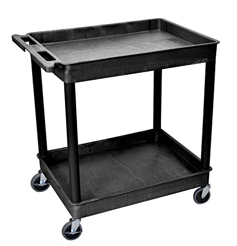 Offex Mobile Large 2 Shelves Storage Utility Tub Cart with Push Handle and Casters, Black (OF-TC11-B) ()
