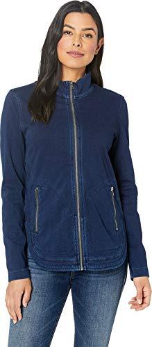 (Liverpool Women's Zip Front Curved Hem Boxy Jacket in Knit Denim Canadian Dark)