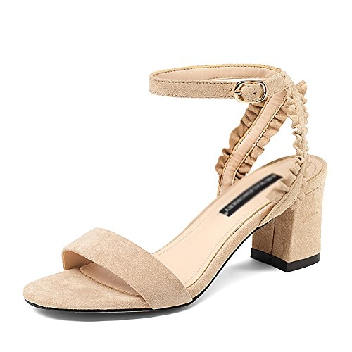 Sandals ZCJB Summer Word Buckle Woman Wedges Small Fresh High Heels Student Wild Casual Roman Shoes Apricot
