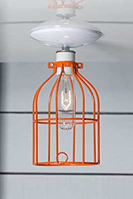 Orange Cage Light - Ceiling Mount Industrial Lighting - White
