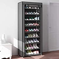 CY craft 10-Tier Shoe Rack with Cover,27 Pairs Space Saving Shoe Organizer Portable Closet Shoe Storage,Grey