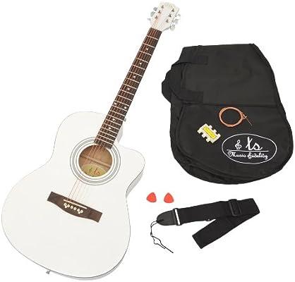 4/4 Guitarra acústica WESTERN Guitarra en Color Blanco con set de ...