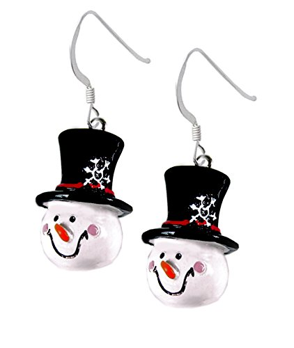 (3-D Resin Christmas Snowman Earrings, Qty:1pair)