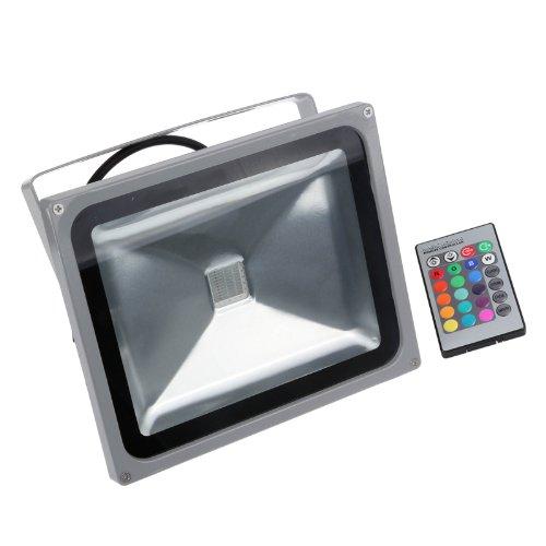 - LemonBest 30 Watt RGB LED Waterpoof Outdoor Security Floodlight + 24 Key IR Remote Control