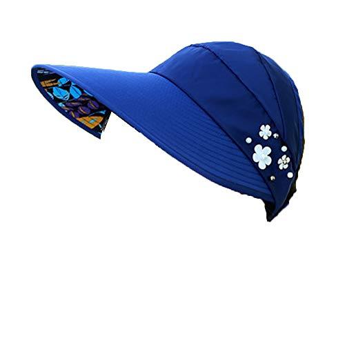 (Women Sun Hat Anti-UV Visor Cap Spring Summer Wide Brim Baseball Cap Beach Packable Visor Navy Blue)