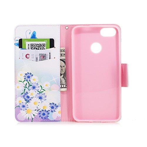 conception portefeuille aérosol protection carte de Huawei support étui cuir Mini Lite Flip PU butterfly avec fente en avec magnétique fermeture en Blue pour Hozor d'impression peint cas P9 wP8q8xRX