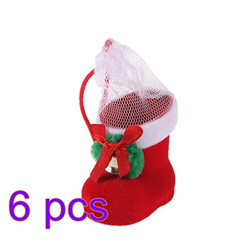 Tinksky 6 pcs Reusable Christmas Decorations Santa Claus Snowman Candy Socks Holders Pouch Drawstring Gift Treat Bag Goodie Bag Xmas Stocking Hanging Christmas Tree Ornaments Size XS (Red)