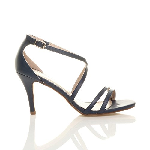 Navy Heel Sandals Women Shoes Ajvani High Matte Size TYSxKPq