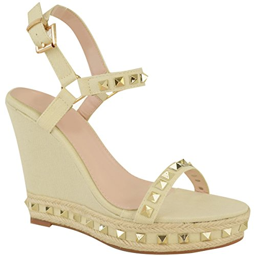 Fashion Thirsty Womens Studded Wedge Sandals Strappy Platforms Denim Summer Shoes Size Cream Denim TgFzh4517