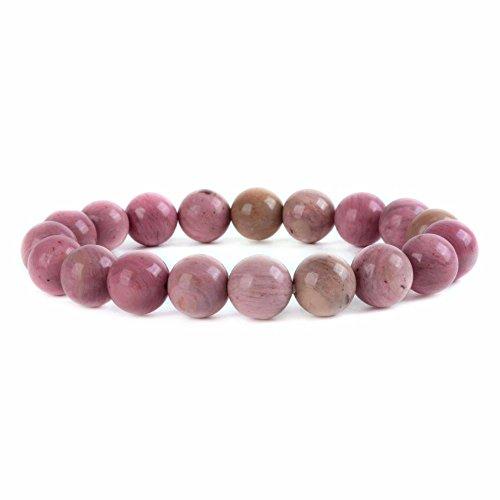 (Justinstones Natural Pink Rhodonite Gemstone 10mm Round Beads Stretch Bracelet 7 Inch Unisex)