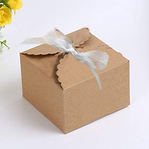 Chiffon Yarn 50 Pieces Cute Kraft Paper Box Gift Box with Batural Jute Twines for Wedding Party Present Wrapping Favour Favor Gift Candy Box Brown