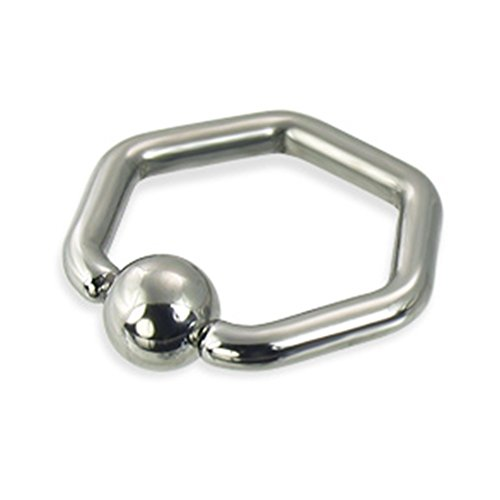 MsPiercing Hexagon Captive Bead Ring, 12 Ga, 1/2