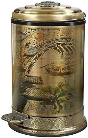 ゴミ袋 ゴミ箱用アクセサリ 創造的な中国式のゴミ箱はレトロなペダルのゴミ箱を世帯の大容量のゴミ箱にすることができます キッチンゴミ箱 (Color : A, サイズ : 6L)