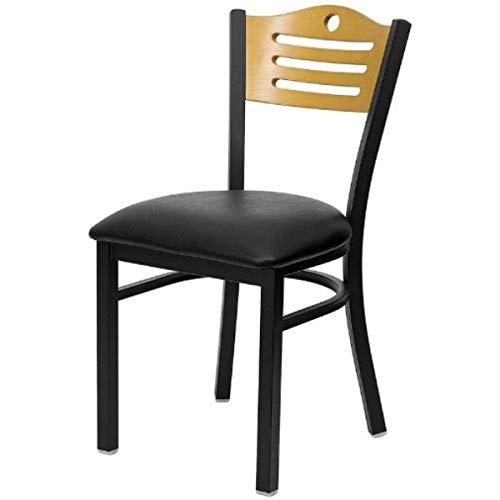 Modern Style Metal Dining Chairs Bar Restaurant Commercial Seats Natural Wood Slat Back Design Black Powder Coated Frame Home Office Furniture - Set of 2 Black Vinyl Seat #2200