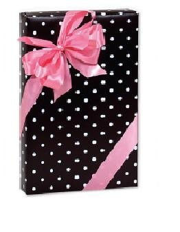 Trendy Brand New Black & White Polka Dots Gift Wrap Wrapping Paper Roll 16 Foot -