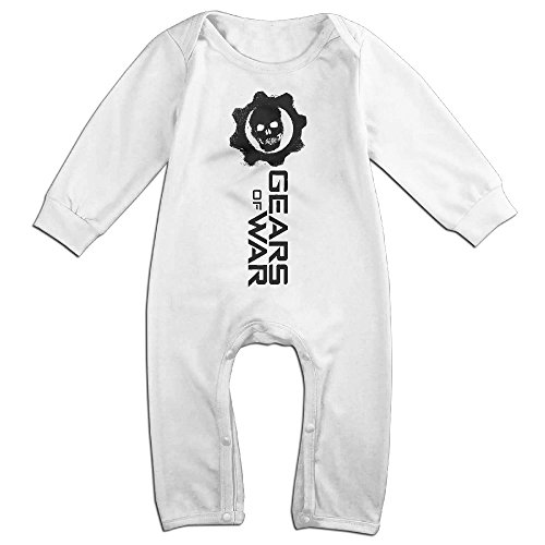 [Mmo-J Newborn Babys Gears Skull War Long Sleeve Romper Bodysuit Outfits White Size 12 Months] (Gears Of War Marcus Fenix Costume)