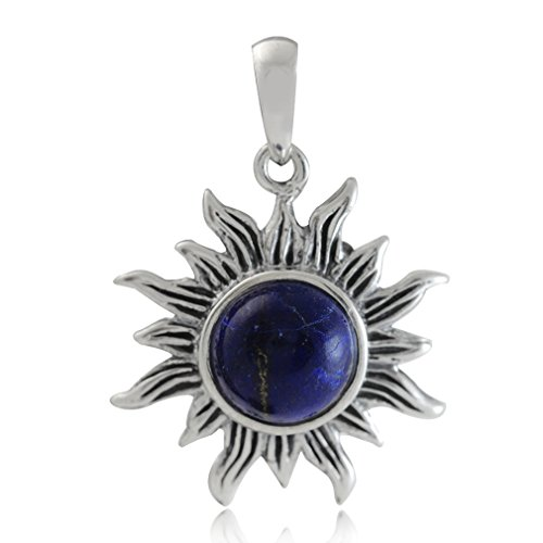 (Silvershake 8mm Genuine Lapis 925 Sterling Silver Sun Ray Inspired Solitaire Pendant)
