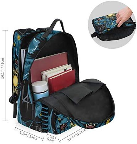キャットタイガーパンサージャガーアートワークショルダー バックパック メッセンジャー クロスボディ ラップトップ バッグ 学生 スクールバッグ ブックバッグ 女の子 男の子 用