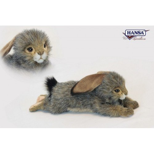 "Hansa Black Tail Bunny Rabbit Floppy Plush Toy 15"" Long from Hansa"