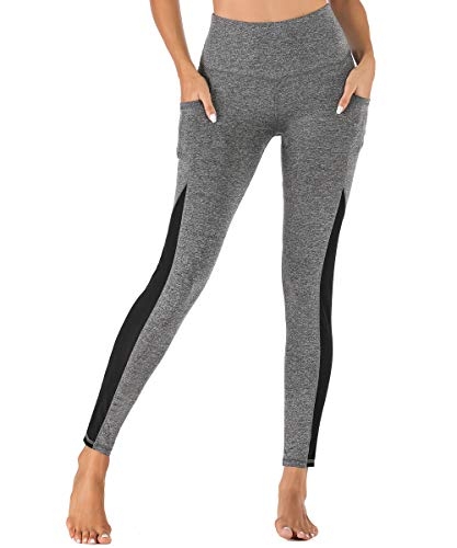 Yaavii Damen Yoga Sport Leggings mit Taschen Lange Blinkdicht Yoga Fitnesshose Sporthose mit Hohe Taille für Workout Gym
