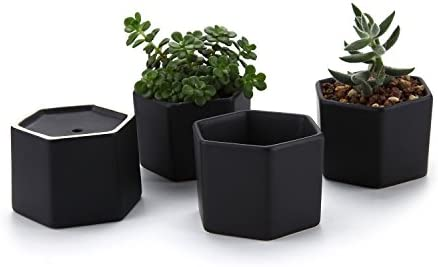 T4U 2.75 Inch Ceramic Six Sizes Semi Luster Surface Succulent Plant Pot Cactus Plant Pot Flower Pot Container Planter Matte Black Package 1 Pack of 4