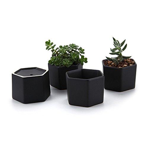 T4U 2.75 Inch Ceramic Six Sizes Semi Luster Surface Succulent Plant Pot/Cactus Plant Pot Flower Pot/Container/Planter Matte Black Package 1 Pack of 4