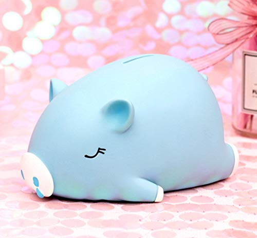 B-FUL Cute Piggy Money Banks,Mini Piggy Bank for Girls Boys Kids Adult Gift Toy, Makes a Perfect Unique Gift, Nursery Décor, Keepsake (Blue, ()