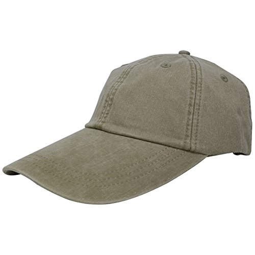 wpsportswear Sunbuster Extra Long Bill 100% Washed Cotton Cap With Leather Adjustable Strap - Khaki