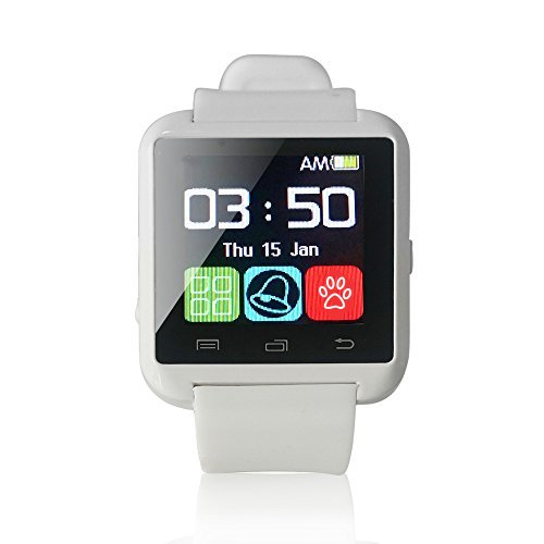 Yuntab U8 SmartWatch, Compatible iOS & Android(White)