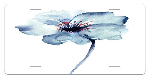 Watercolor License Plate by Ambesonne, Artistic Design of a Spring Flower with Blue Tones Birth of Life Theme Print, High Gloss Aluminum Novelty Plate, 5.88 L X 11.88 W Inches, Pale (Watercolor Birth Print)