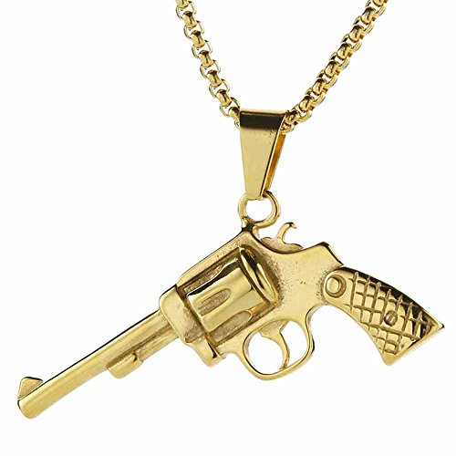 Js Gold Chain Necklace - Valily Golden Box Chain Pistol Pendant Necklace Men Stainless Steel Hot Game JS Cross Fire Weapon Gun Necklace Jewelry for Male 24