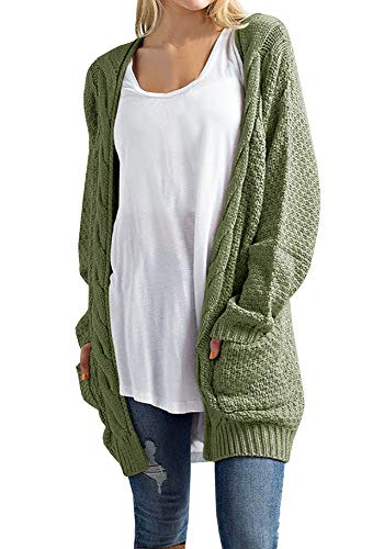Imily Bela Women's Boho Long Sleeve Open Front Chunky Warm Cardigans Pointelle Pullover Sweater Blouses Army Green