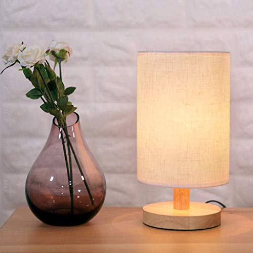 Cylindrical Shade - Gotian Bedside Lamp Night Light Warm White Bulb Dimmable Gift Wood Table lamp - Linen Fabric Made Cylindrical Shape Shade, Minimalist Style Design (Beige)