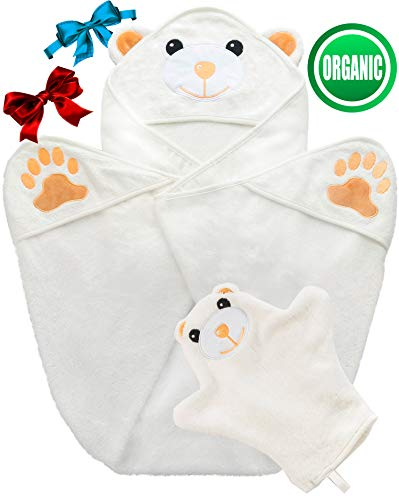 100% Organic Bamboo Hooded Baby Towel and Washcloth Set - Ultra Absorbent (500 GSM) | Large (35x35 Inches) Premium Extra Soft and Thick Bath Towels - Ideal Baby Gifts for Baby Showers and Birthdays