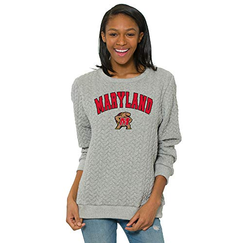 - Flying Colors Officially Licensed NCAA Maryland Terrapins - Women's Cable Knit Relaxed Fit Game Day Sweater (UMD)