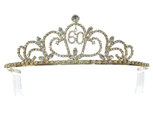 (SAMKY Gold Birthday Party Rhinestone Crystal Tiara Crown - 60th Sixty Sixtieth)