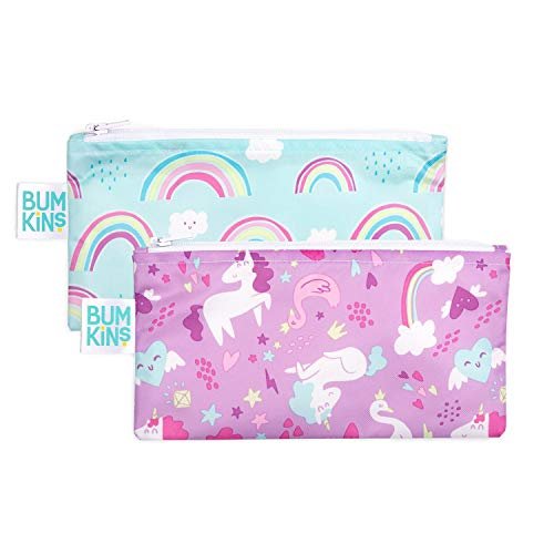 (Bumkins Snack Bags, Reusable, Washable, Food Safe, BPA Free, 2-Pack - Unicorns & Rainbows)
