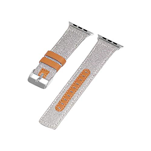 (CHUNKUNA Watch 3/ /4 38mm Fabric Lining Brown Calf Strap Band Strap Wrench Choice of Color (White))