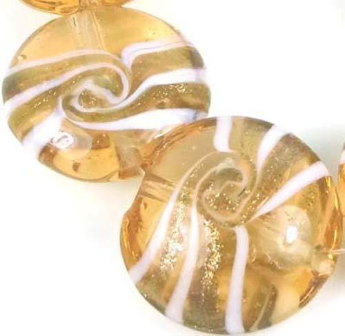 (6 Beads) 20m Lampwork Handmade Glass Silver Foil Swirl Lentil Beads Transparent Champagne